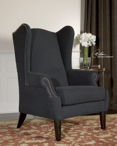 """Taliaferro Armchair,   Velvety, brushed cotton softness in dark graphite with polished nickel nails and deep espresso stained, hardwood legs.     Seat height is 21"""".    http://www.blacksheepexchange.com/categories/uttermost-accent-chairs/taliaferro-armchair/"""