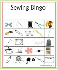 Sewing Bingo Printable Boards