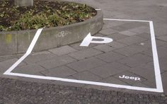 Guerilla marketing Because the jeep can park anywhere, this parking spot is prepared for that. Guerilla marketing example for presentation Creative Advertising, Guerrilla Advertising, Advertising Campaign, Advertising Design, Marketing And Advertising, Advertising Ideas, Ads Creative, Advertisement Examples, Advertising Poster