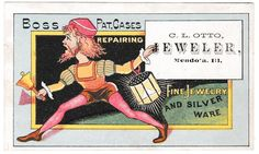 Boss Pat. Cases Advertising Trade Card C.L. Otto Mendota, IL Man w. Bell Crier