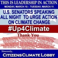 Monday March 10 2014. U.S. Senators Speaking All Night To Urge Action On Climate Change