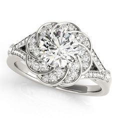 14K WHITE GOLD FLORAL HALO DIAMOND ENGAGEMENT RING (0.25 ctw)