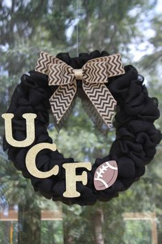 University of Central Florida Burlap Wreath  by CreatedForHome, $40.00  {absolutely LOVE LOVE this! Probably pretty easy to DIY!}