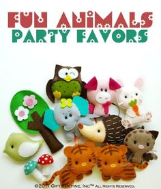 felt animals party favors
