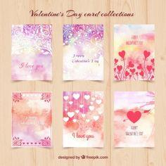 Cartões do dia dos namorados da aguarela