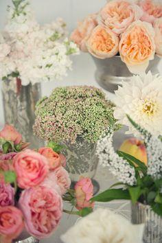 English garden roses, dahlias, sweet peas