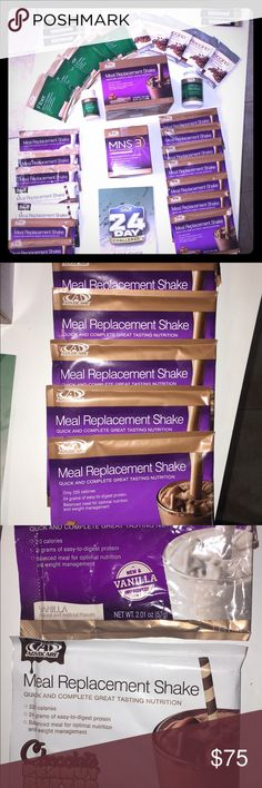 Advocate bundle Here's a bundle of advocare products. I used to sell them but now I don't so I am getting rid of the remainder of my inventory.   TOTAL RETAIL PRICE: $237.65  -MNS3 brand new 14-day supply: retail $43.95 -Meal replacement shakes: 9 chocolate, 3 vanilla, 2 chocolate peanut butter. Retail $44.95 -Fiber shakes x5: retail $16.95 -Coffeeccino x5: retail $38.95 -Omegaplex 65/90 pills: retail $21.95 -ClearMood 50/90 pills: retail $27.95 -Biocharge x6: retail $42.95 Other