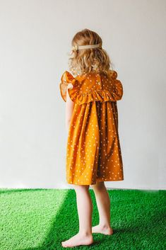 Megan Dress – burnt orange dress with ruffled collar. Perfect boho dress for girls, only from cuteheads.com