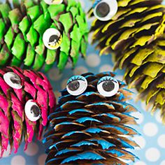 If your kids love collecting pine cones, then you probably have more than enough to spare on spring crafts like these. The little ones will love turning their natural treasures into this Pine Cone Monster Craft. These spring crafts for kids are cool. Spring Crafts For Kids, Projects For Kids, Diy For Kids, Craft Projects, Owl Crafts, Kids Crafts, Arts And Crafts, Pine Cone Crafts, Camping Crafts