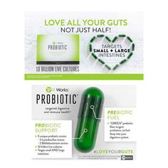With It Works! Probiotic you can balance out that bad bacteria by restoring the good! This Probiotic PLUS Prebiotic is formulated with two proprietary blends that strengthen your whole digestive system with targeted support for your small AND large intestines. #itworks #getyourcrazyon #prebiotic #loveyourguts