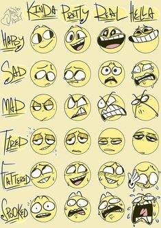 Trendy Drawing Cartoon Faces Facial Expressions Art Trendy Drawing Cartoon Faces Facial ExpYou can find Cartoo. Expression Sheet, Cartoon Expression, Facial Expression Memes, Drawing Cartoon Faces, Draw Faces, Happy Face Drawing, Smile Drawing, Drawing Cartoons, Drawing Hair