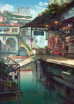 56 Ideas City Landscape Illustration Environment For 2019 Environment Concept, Environment Design, Fantasy Landscape, Landscape Art, Fantasy Art Landscapes, Art Environnemental, Anime Scenery, Environmental Art, Aesthetic Art