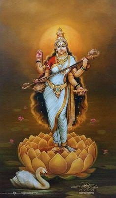 The sacred art as an offering to the Gods, and joy of men website page counter Saraswati Goddess, Mother Goddess, Goddess Lakshmi, Saraswati Mata, Durga Ji, Goddess Art, Shiva Hindu, Hindu Deities, Hindu Art