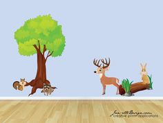 Forest Wall Decals, Animals in the Forest Fabric Wall Decal Set. $185.00, via Etsy.