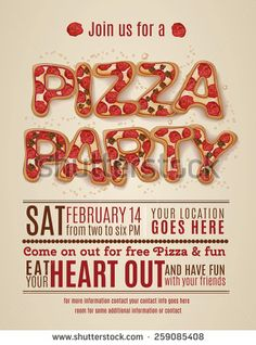 vector pizza party flyer invitation template design - stock vector