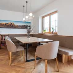 """A cozy dining area with a wonderful """"view"""". The simple table frame not only offers plenty of legroom, but also has its visual appeal. The wooden elements in this house, like the rest of the basic furniture, were made from elm. Dining Area, Dining Bench, Dining Rooms, Table Frame, Home Reno, Future House, Home Kitchens, Living Spaces, Sweet Home"""