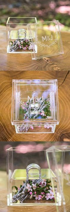 """View and Purchase """"Woodland Pretty"""" Personalized Acrylic Wedding Ring Box from Party Favor Source Wedding Ring Cushion, Wedding Ring Box, Card Box Wedding, Farm Wedding, Wedding Ceremony, Gold Wedding, Wedding Venues, Cheap Party Favors, Wedding Favors Cheap"""