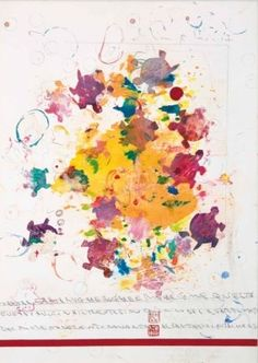 Artwork by Alighiero Boëtti, Sans titre (Tartar tartarughe rughe e righe), Made of watercolour, graphite, stamps and paper collage on paper laid down on canvas