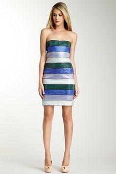 Crystal Covered Multicolor Stripe Sequin Dress by Giorgio Armani