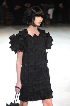Origami-style texture and pattern at  @Yohji_Yamamoto #PFW