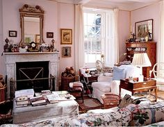 Room of the Day ~ Debo's sitting room - want a cottage living room like this one day with chintz, antiques, books, gold framed mirror, soft pink walls.