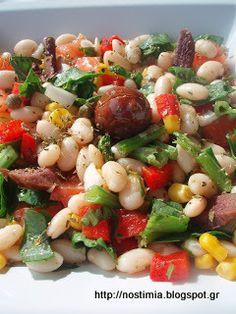 Μεσογειακή σαλάτα με φασόλια-Mediterranean bean salad Bean Salad, Kung Pao Chicken, Beans, Ethnic Recipes, Food, Entertainment, Salad, Bean Salads, Essen