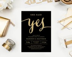 She Said Yes Engagement Party Invitation by Fine and Dandy Paperie - Available as a Printed or Printable order!