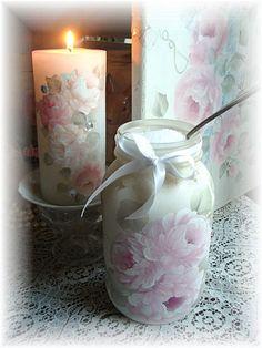 Shabby hand painted rose jar to store bath salt. hp pink. misfitrosey.com
