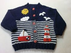 Baby Knitting Patterns Sweaters Such a cute baby jacket, ideal for little boys. From a wonderful fran . Baby Boy Knitting Patterns, Knitting For Kids, Crochet Patterns, Crochet For Boys, Crochet Baby, Pull Bebe, Baby Cardigan Knitting Pattern, Knit Baby Sweaters, Baby Coat