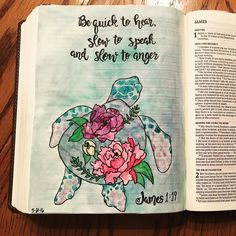Love this verse in James reminding us to listen more talk less & be slow in allowing anger.  #biblejournaling #illistratedfaith #biblejournalingcommunity #james #nature #sealife #handlettering @sweetpeapaisley http://ift.tt/1KAavV3