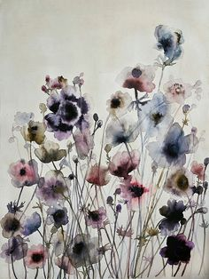 Anemones. Watercolor and ink on paper 29¨x 42¨ by Lourdes Sánchez