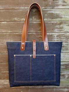 Backyard Denim Tote Bag