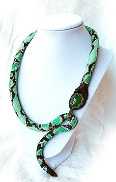 "Cleopatra's Snake Necklace bead crochet natural onyx 21"" magnetic clasp"