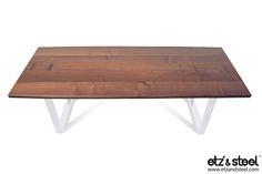 Etz & Steel Viceroy Live Edge Table White Base   #woodslab #woodwork #tables #homedecor #furniture #diningtable #liveedge