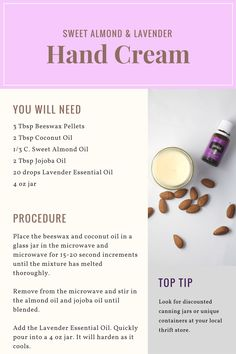 And Tricks For Healthy Youthful Skin This Sweet Almond Lavender Hand Cream is an incredible moisturizer for dry hands.This Sweet Almond Lavender Hand Cream is an incredible moisturizer for dry hands. Homemade Moisturizer, Moisturizer For Dry Skin, Homemade Skin Care, Homemade Beauty Products, Diy Skin Care, Makeup Products, Lush Products, Homemade Facials, Homemade Hand Creams