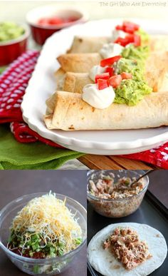 Baked Chicken Chimichangas - the crisp you love, minus the grease. The Girl Who Ate Everything Different option to regular burritos/tacos! I Love Food, Good Food, Yummy Food, Mexican Dishes, Mexican Food Recipes, Mexican Meals, Great Recipes, Favorite Recipes, Family Recipes