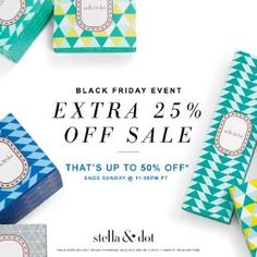 Black Friday HAS Started!! Get up to 50% off all sale items + get $25 back on every $50 spent!