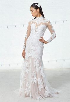 ivy aster fall 2017 bridal long lace sleeves high neck full embroidered elegant sheath wedding dress illusion lace back short train (linette) mv -- Ivy & Aster Fall 2017 Wedding Dresses Fall Wedding Dresses, Wedding Dress Styles, Wedding Gowns, Lace Wedding, Ivy And Aster, 2017 Bridal, 2017 Wedding, Illusion Dress, Bridal Collection