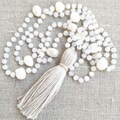 Beach Day Necklace mala necklace tassel by Thebeautifulnomad
