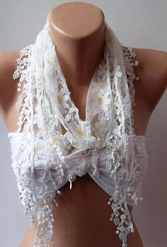 Yellow  White Elegance  Shawl / Scarf with Lacy Edge by womann, $16.00
