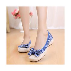 Old Beijing Cloth Shoes Woman Embroidered Shoes Literary Style Slipsole Increased within blue