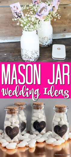 DIY Wedding Ideas with Mason Jars These mason jar wedding ideas are perfect for any wedding that you are planning! So many ideas to make your DIY wedding something special! Wedding Jars, Wedding Centerpieces Mason Jars, Diy Wedding, Wedding Ideas, Wedding Reception, Quinceanera Centerpieces, Rustic Wedding, Wedding Planning, Table Centerpieces