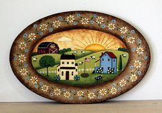 Creative Home Decor Ideas For Any Home Wooden Plates, Painted Plates, Ceramic Plates, Saltbox Houses, White And Blue Flowers, Red Barns, Handmade Decorations, Rustic Decor, Folk Art
