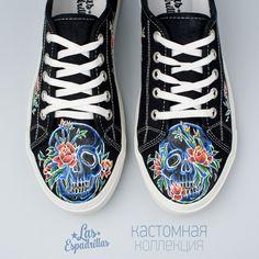kedoff_netстильные черные кеды Las Espadrillas с ручной росписью от Lebed' K #brand #LasEspadrillas #handmade #painting #shoes #new #black #stile #flower #skull