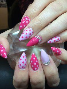 Amanda Trivett channels 50's fun with polka dots and crystal embellishments. #pinknails #nails #nailart