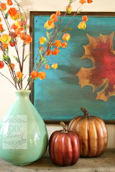 ~J Beautiful.These Fall Mantel Ideas Go Beyond Just Pumpkins: Red and Teal Fall Mantel Thanksgiving Decorations, Seasonal Decor, Pumpkin Decorations, Thanksgiving Celebration, Diy Shows, Fall Color Palette, Red And Teal, Orange Yellow, Autumn Decorating