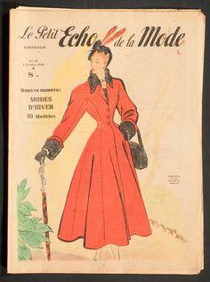'ECHO DE LA MODE' FRENCH VINTAGE NEWSPAPER FASHION ISSUE 3 OCTOBER 1948 | eBay
