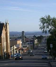 Where I live -- looking down G Street towards downtown Arcata and Humboldt Bay beyond -- Arcata, CA