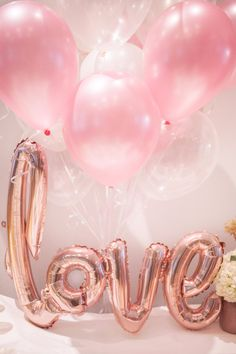 A perfect combination of soft pinks, iridescent, clear and rose gold balloons. Rose Gold Balloons, Party In A Box, Perfect Party, Twinkle Twinkle, Iridescent, Invitations, Pink, Beautiful, Rose