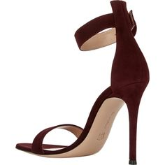 Gianvito Rossi Portofino Ankle-Strap Sandals (1,415 BAM) ❤ liked on Polyvore featuring shoes, sandals, ankle wrap shoes, leather sole shoes, ankle tie shoes, ankle strap shoes and gianvito rossi sandals